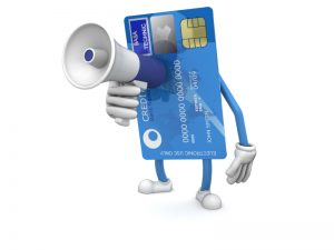 credit card with megaphone