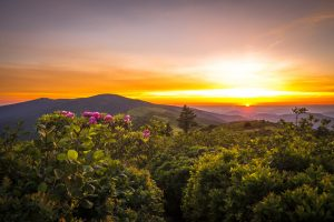 Spring sunset in the blue ridge mountains