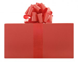 Red present with a bow